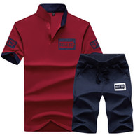 Wholesale Polo Shirt Cool - Men Tracksuit Stand Collar Polo Top Shirt With High Elastic Pants Short Cool Summer Hoome Tracksuit