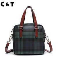 Wholesale Bags Free Delivery - C&T brand Business Style Women's Tote coated canvas Plaid High-quality handbag & Crossbody Bags Simple EMS Free Delivery