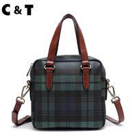 frauen c handtasche groihandel-CT-Marke Business Style Damen Tote beschichtet Leinwand Plaid Hochwertige Handtasche Crossbody Taschen Einfache EMS-freie Lieferung