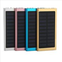 banco de energía solar dual al por mayor-Ultra delgado Slim Solar Power Bank 20000mah Dual Usb Cargador móvil de emergencia Solar Powerbank Universal para Iphone Samsung con caja al por menor