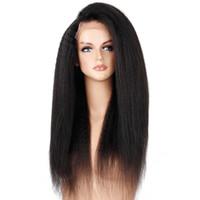 peluca recta recta de encaje yaki remy al por mayor-2018 100% cabello humano remy virginal sin procesar sexy yaki recto con cabello de bebé nuevo color natural larga peluca llena de encaje para mujeres