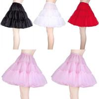 Wholesale Womens Tutu Skirt White - Free Shipping Wedding Petticoats Short Girls Skirt Pettiskirt Womens Puffy Crinoline Vintage Petticoats Tutu Skirt For Girls CPA261