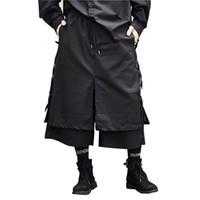 saia de moda punk venda por atacado-Moda masculina Casual Harem Trouser Stage Wear Perna Larga Pant Punk Hip Hop Trajes Homens Japão Estilo Kimono Saia Pant