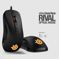 Wholesale gaming accessories - Gaming Mouse Steelseries RIVAL Optical Mouse LED Ergonomics Dota 2 Brand computer accessories Brand gamer+1 Set Mouseskate