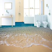 vinil para pisos venda por atacado-Personalizado 3D Praia Água Do Mar Sala de estar Quarto Banheiro Piso Pinturas Murais Auto-adesivo Papel De Parede De Vinil Home Decor De Parede
