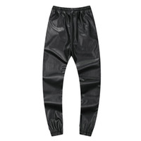 mens rahat deri pantolon toptan satış-Sonbahar Kış Erkekler Hiphop Dans Pantolon PU Deri Joggers Siyah Kırmızı Gümüş Erkek Joggers Rahat Sweatpants Hip Hop Ter Pantolon Boyutu 30-42