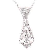 uzun zincir süsleme toptan satış-Moda Kravat Kravat Şekilli Kolye Uzun Zincir Kolye Gümüş Süsler Çocuklar Kız için (Gümüş)