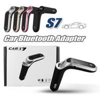 entrada de rádio usb venda por atacado-Kit Transmissor FM S7 Bluetooth Car Handsfree Adaptador de Rádio FM LEVOU Car Adaptador Bluetooth Suporte TF Cartão USB Flash Drive Entrada AUX / saída