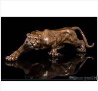 Wholesale bronze sculpture deco art resale online - inch Art Deco Leopards Bronze Sculpture Cubism Panthers Statue