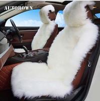 voiture en peau de mouton achat en gros de-AUTOROWN De Luxe Universel Housse De Siège De Voiture 100% Australien Siège En Peau De Mouton