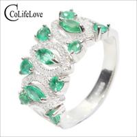 natürliche edelsteine klingelt großhandel-Vintage Smaragd Ring SI Klasse natürlichen Smaragd Silberring massivem 925er Silber königlichen Edelstein für die Frau