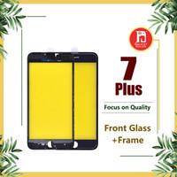 iphone ön ekran aksamı toptan satış-IPhone 7 için Artı Ön Dokunmatik Ekran Paneli Dış Cam Lens + Soğuk tutkal Orta Çerçeve Çerçeve Meclisi iphone 7 P Için Yedek Parçalar
