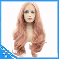 Wholesale Long Fashion Wigs - Fashion Orange Pink Lace Wig Glueless Long Natural Wavy Middle Part Synthetic Lace Front Wigs For Women Half Hand Tied Heat Resistant 22Inch