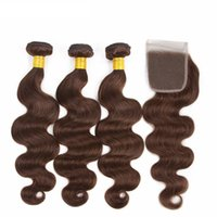 Wholesale chocolate hair weave 18 inch resale online - Free Part Lace Closure With Brown Hair Bundles Color Chocolate Medium Brown Body Wave Human Hair Weaves With Top Closure