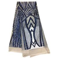 vestidos de tela india al por mayor-tela de encaje indio estilo de la moda tela de tul de brillo con lentejuelas de bordado para vestidos de noche de alta calidad 5 yardas