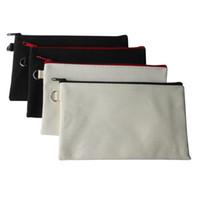 Wholesale Pencil Case Canvas - 10pcs lot Eco Plain Blank Solid Canvas Cotton Makeup bags Cosmetic Bag Purse Pen Case For DIY Design Pencil Cases Cool DIYs