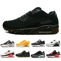 черные дышащие кроссовки мужчины оптовых-Nike Air max 90 shoes airmax 90 Тройной черный Мужчины Женщины Классический Желтый красный пшеницы Спортивный Тренер Подушка Поверхность Дышащий открытый кроссовки 36-45