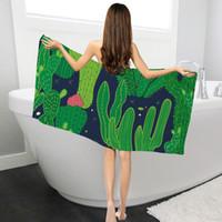 ingrosso spiaggia di vasca da bagno-Asciugamani da bagno di stampa Cactus all'ingrosso per adulti Asciugamano Asciugamano da bagno in microfibra con asciugamano di base