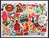 Wholesale vintage decals - 100X Waterproof Poster Cartoon Sticker Vintage Vinyl Laptop Luggage Tablet Decals Dope Funny Sticker 100 Pack M size