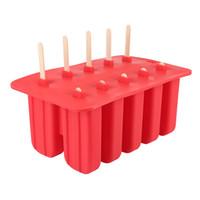 funda de silicona helado al por mayor-Plástico Diy Silicona Helado Cubo Molde 10 Caja Molde Puck Helado Bandeja de hielo Pop Popsicle Frozen Maker Herramientas de cocina