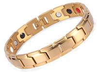 bracelets pour hommes balance en or achat en gros de-Bio Bracelet magnétique, Auniquestyle Hommes Bijoux Guérison magnétique Bracelet Balance Santé Argent Or Noir Acier Inoxydable Bracelets pour les femmes