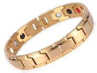 pulseiras para homens ouro equilíbrio venda por atacado-Bio pulseira magnética, auniquestyle homens jóias de cura magnética bangle equilíbrio saúde prata ouro preto pulseiras de aço inoxidável para as mulheres