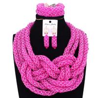 ingrosso collana di rosa calda dei branelli-4UJewelry Dubai Jewelry Set Nigeriano Bridal Beads Wedding Fuchsia Hot Pink Africano Borda Collane Per Le Donne Liberi Nave Gioielli