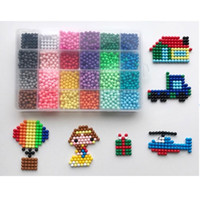 Wholesale beads pegboards - Water Stick DIY Magic Beads Ball Aqua Jouets Perler Pegboard Hama Pixels Magic Beads Jigsaw Puzzle Educational toy 24 colors set