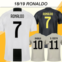 jersey de fútbol para hombre xxl al por mayor-2018 19 RONALDO Camisetas de fútbol Juventus DYBALA D.COSTA Champions League Parche fuera de casa 3er camisetas de fútbol para hombre MARCHISIO MANDZUKIC Uniforme
