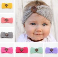 Wholesale 16 color New Baby Girls Fashion Wool Crochet Headband Knit Hairband With Button Decor Winter Newborn Infant Ear Warmer Head Headwrap