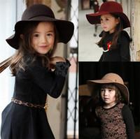 vintage girl hat wide brim 도매-가을 겨울 따뜻한 아이 소년 소녀 빈티지 와이드 브림 캡 부드러운 양모 Bowknot 볼러 플로피 어린이 썬 햇 비치 모자 TO501
