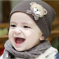 beanies azuis amarelas venda por atacado-bonés do bebê coon urso chapéu bonés do bebê para meninos meninas azul rosa amarelo boné recém-nascido infan chapéu estilo coreano chapéus recém-nascidos gorros