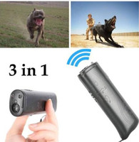 Wholesale ultrasonic anti dog repeller - 3 in 1 Anti Barking Stop Bark Ultrasonic Pet Dog Repeller Training Device Trainer With LED Anti Barking Device Flashlights KKA4484