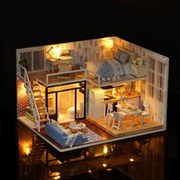 Wholesale Wooden Model House Kits - LeadingStar Diy Wooden Doll House Furniture Kits Toys Handmade Craft Model Kit DollHouse Toys Gift For Children