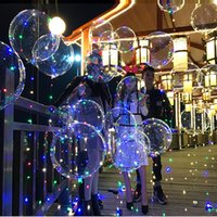 Wholesale Ac Wave - 18 inch LED String Air Balloon Christmas Xmas New Year Festival Decortions Transparent Luminous Wave Ball Round Balloon