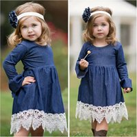 Wholesale child girl evening dresses for sale - Group buy Lovely baby Girl Denim Lace dress kids long sleeve Party dress fashion Children Lace Evening Dress