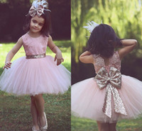 kızlar için pembe dantel şortu toptan satış-Pembe Jewel Boyun Kolsuz Çocuk Çiçek Kız Elbise Dantel Tül Kısa Kızlar Pageant Törenlerinde Ile Payetli Yay Ucuz Çocuklar Resmi Aşınma