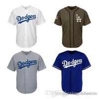 gri beyzbol mayo boş toptan satış-Erkekler Kadınlar Gençlik Dodgers Formalar Boş Jersey Beyzbol Forması No Adı No Numarası Beyaz Gri Gri Mavi Yeşil Selam hizmet