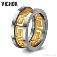 anel de ouro branco liso venda por atacado-Never fading 10mm Anéis ocos para As Mulheres homens banda Anel de Aço Inoxidável 316L aço / ouro / cor preta Anel Aneis Masculinos com caixa VICHOK