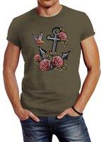 Damen T-Shirt Camouflage Anker Rosen Patch Tropical Anchor Stick-Optik