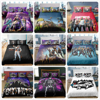 Wholesale cartoon animal bedding online - 3D Printed Bedding Game Fortnite kids room Bedding Sets Fortnite Battle Royale Cartoon duvet Cover Set pillowcase quilt cover bed suit gifts