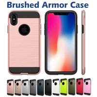 Wholesale iphone pc hard case online - Brushed Commuter Case For Iphone XS XR Plus Shockproof Hard PC TPU Armor Phone Case For Samsung Galaxy Note S9 Plus LG Stylo