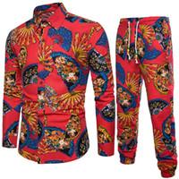 linho casual ternos para homens venda por atacado-2018 primavera e verão novos conjuntos de camisa dos homens com calças populares moda lazer terno comprimento total fã design impresso linho 5XL