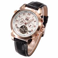 ingrosso oro jaragar-JARAGAR Fashion Casual Wrap Mens Orologi Data Day Automatic Watch Cassa in oro rosa Calendario maschile Orologio meccanico Orologio
