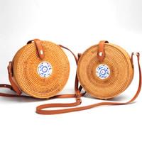 фарфора соломы оптовых-новый путешествия летняя сумка для дамы синий и белый фарфор украшения женщины круг соломы мешок ручной работы ротанга мешок