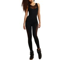 Wholesale Applique Leotards - 2018 Sexy Mesh Bodysuit Women Fitness Yuga Bodycon Jumpsuits Summer Patchwork Overall Hollow Out Playsuits Leotard Catsuit Black