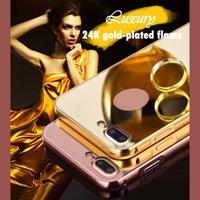 iphone mais 24k venda por atacado-Fo iPhone 6 6S 7 8 mais X espelho acrílico tampa do PC 24K banhado a ouro antiderrapante chama e à prova de choque casos de telefone celular de proteção 10065