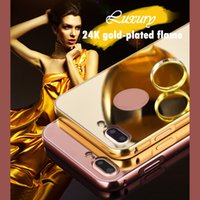 24k gold iphone fall großhandel-Fo iPhone 6 6S 7 8 plus X Spiegel Acryl PC-Abdeckung 24K vergoldete Flamme rutschfeste und stoßfest schützende Handy-Fällen 10065