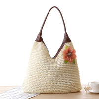 Wholesale dark brown hobo handbags - Woman Hand Bag 2018 Summer Fashion Beach Top-handle Hobos Tote Bags Handbags Women Casual Flower Crochet Straw Woven Shoulder Bag Handbag