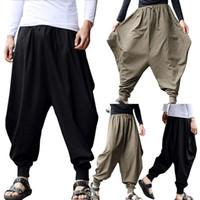 japon pamuklu giysiler toptan satış-Japon Rahat Pamuk Keten Pantolon Erkek Harem Pantolon Erkekler Ayak Bileği Bantlı Jogger Pantolon Çin Geleneksel Giydirin